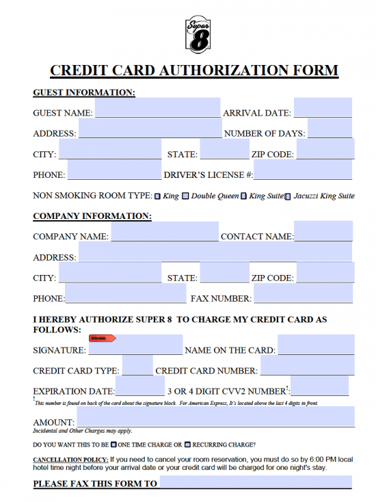 credit card authorisation form