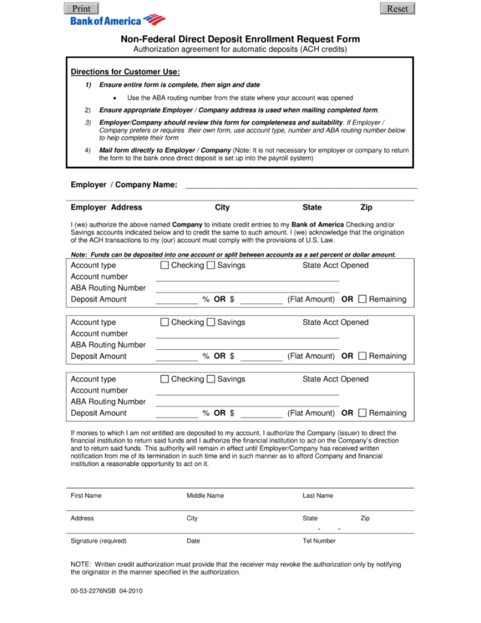 bank of america direct deposit form