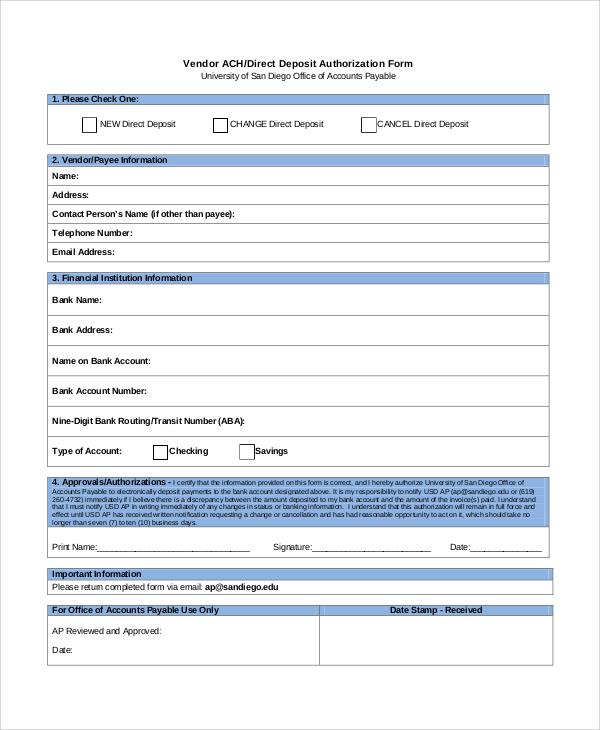 Intuit Direct Deposit Form