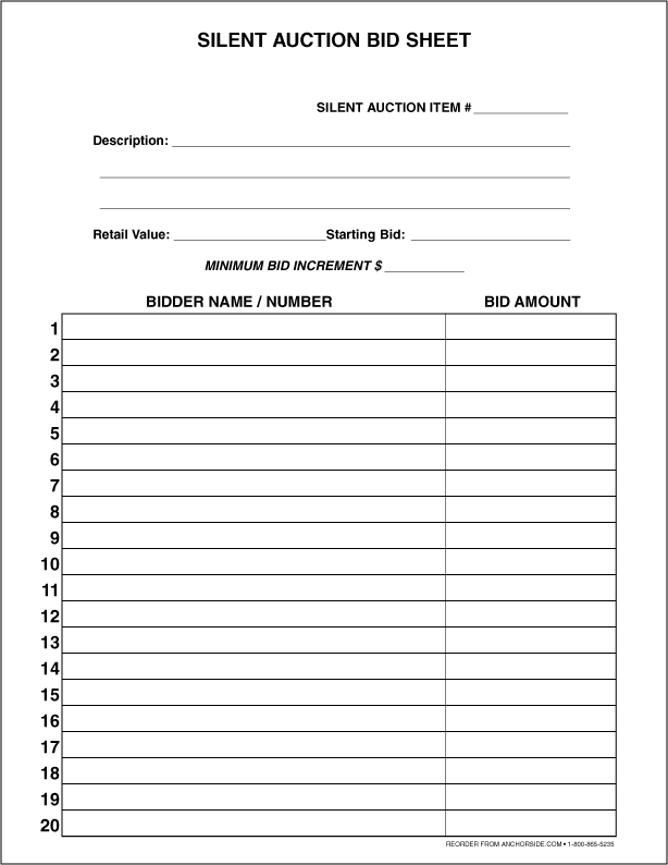 silent auction sheets free
