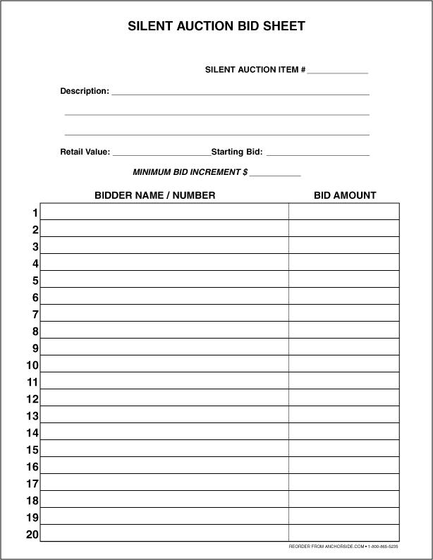 30+ Silent Auction Bid Sheet Templates [Word, Excel, PDF]  |Bid Sheet Template Pdf