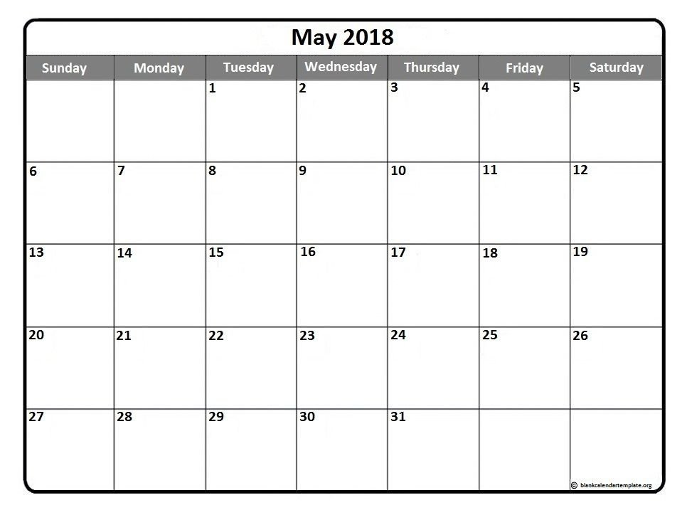 May Printable Calendar.May 2018 Blank Calendar Free Download