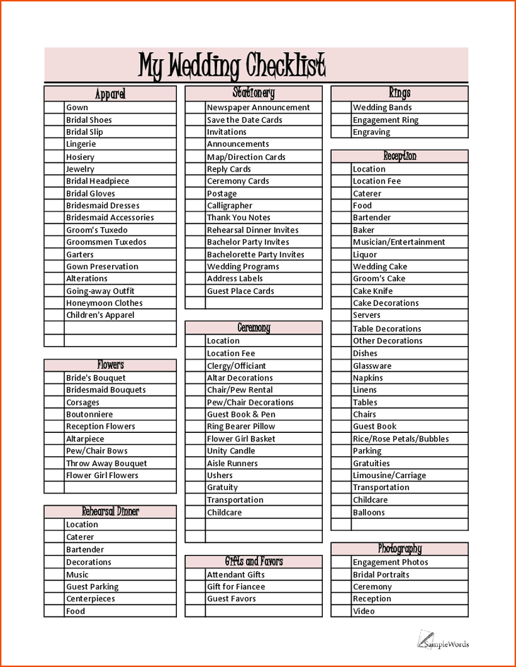 party planner list template free download