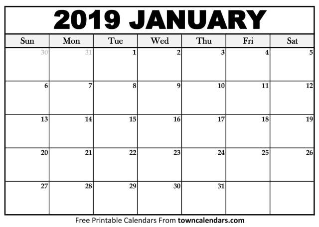 Calendrier Free 2019.January 2019 Calendar Free Download