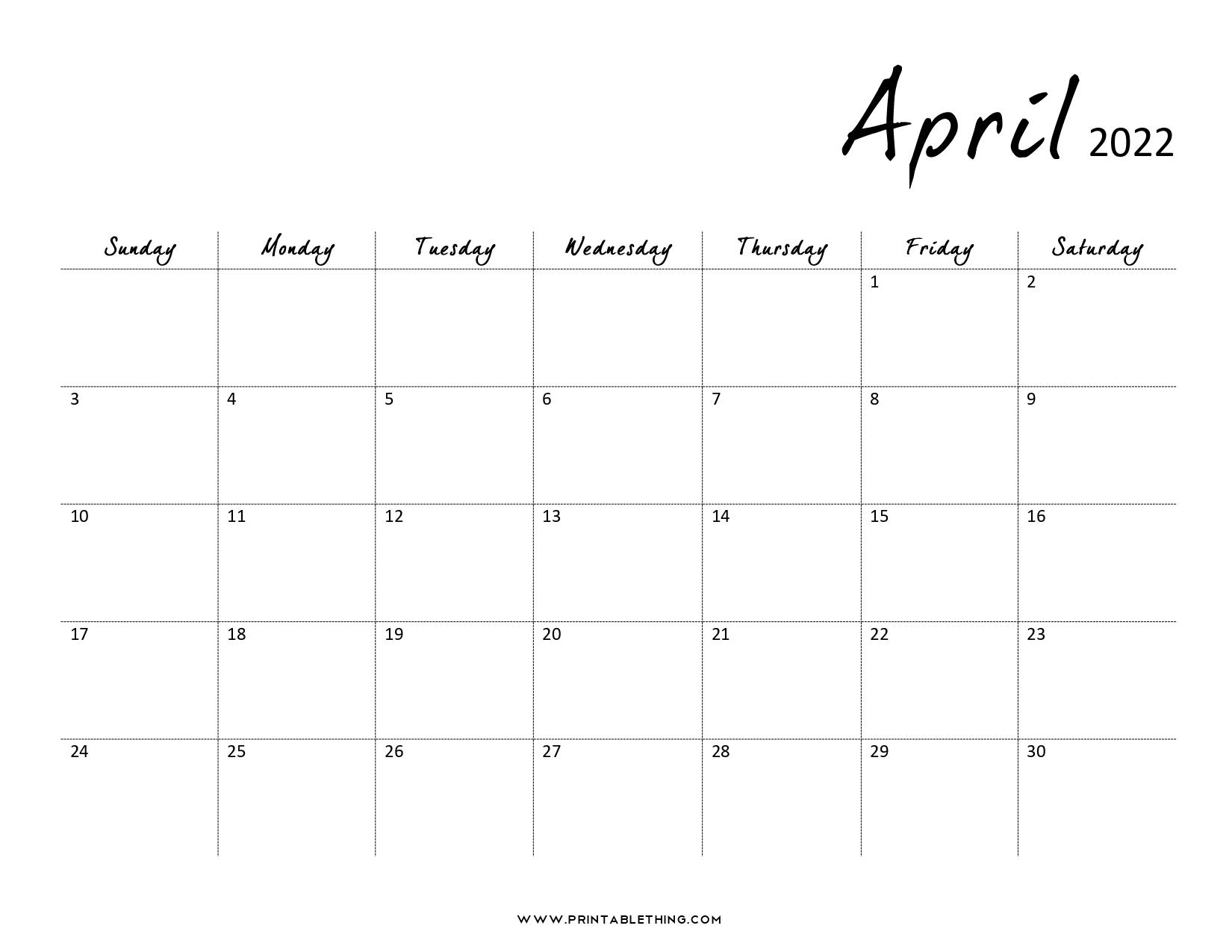 20+ April 2022 Calendar | Printable, PDF, US Holidays ...