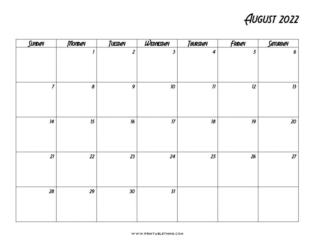 20+ August 2022 Calendar | Printable, PDF, US Holidays, Blank