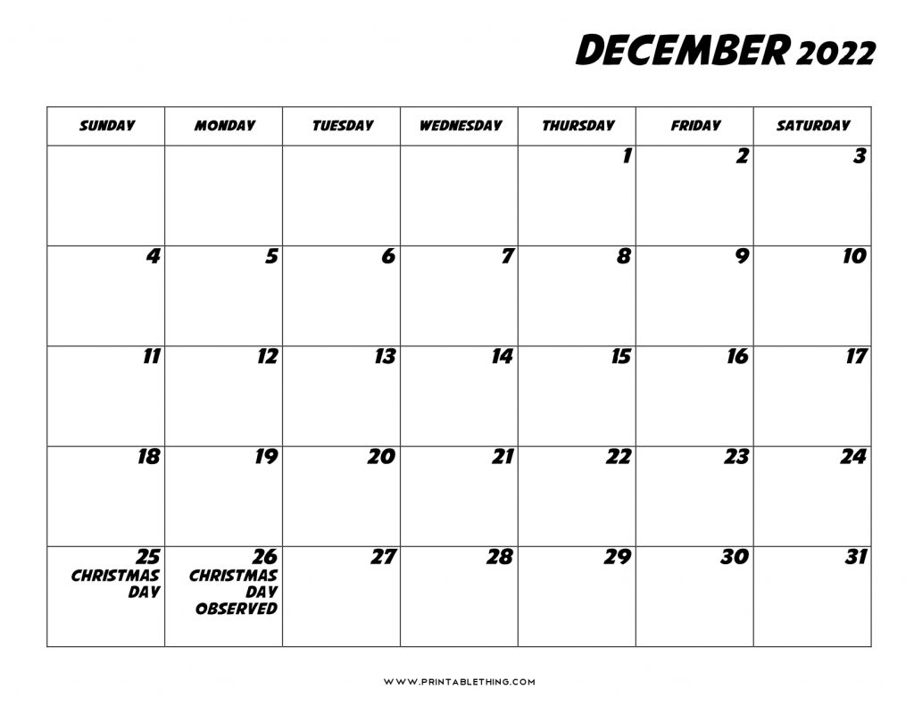Only common local holidays are listed. 20+ December 2022 Calendar Printable, US Holidays, Blank ...