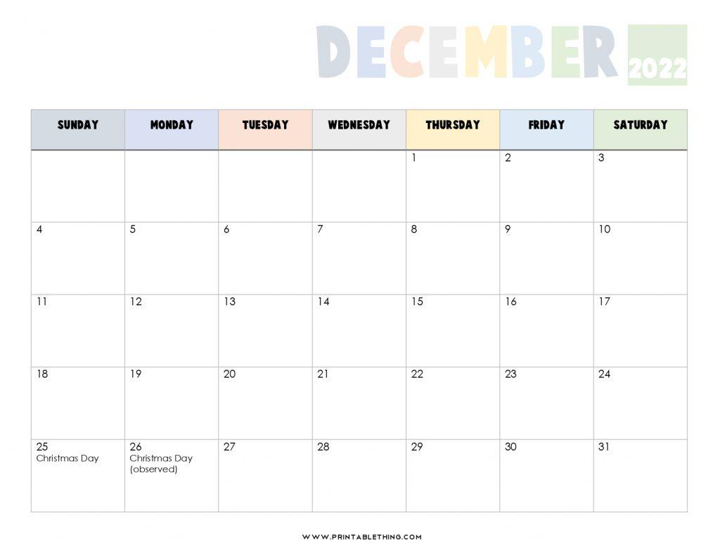 20+ December 2022 Calendar Printable, US Holidays, Blank ...