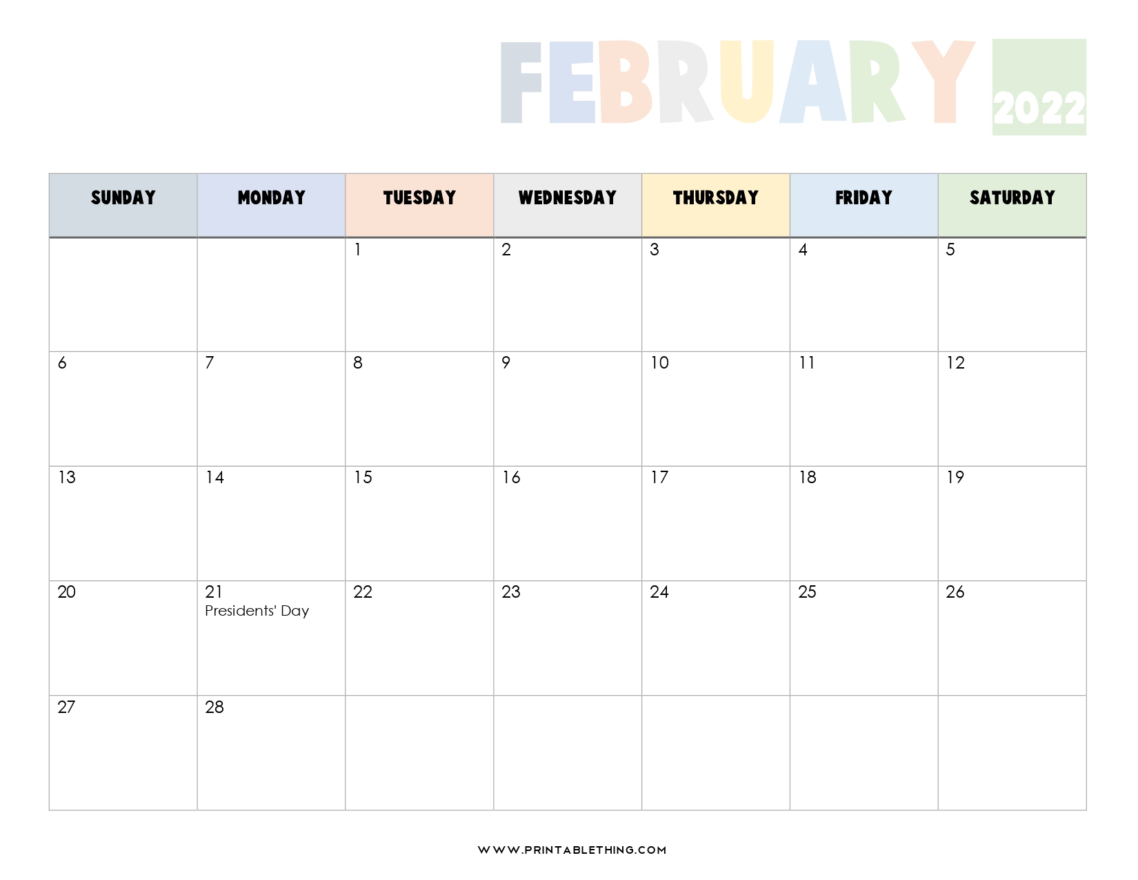 20+ February 2022 Calendar | Printable, PDF, US Holidays ...