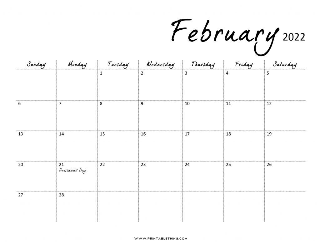 February 2022 Calendar Printable, PDF, February 2023, 2024 ...