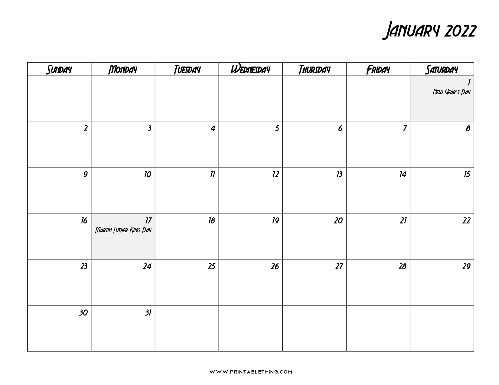 20+ January 2022 Calendar | Printable, PDF, US Holidays ...