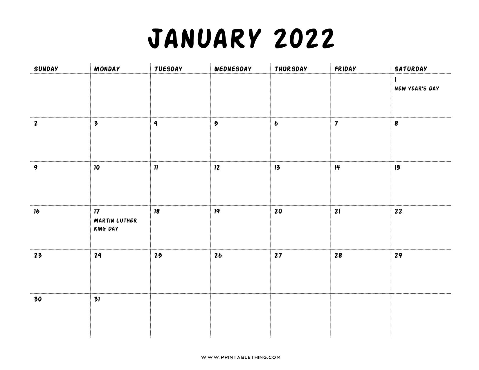 20+ January 2022 Calendar   Printable, PDF, US Holidays ...