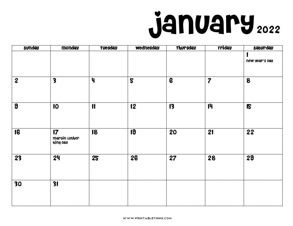 April 2022 calendar with uk bank holidays highlighted landscape layout. 20+ January 2022 Calendar | Printable, PDF, US Holidays ...