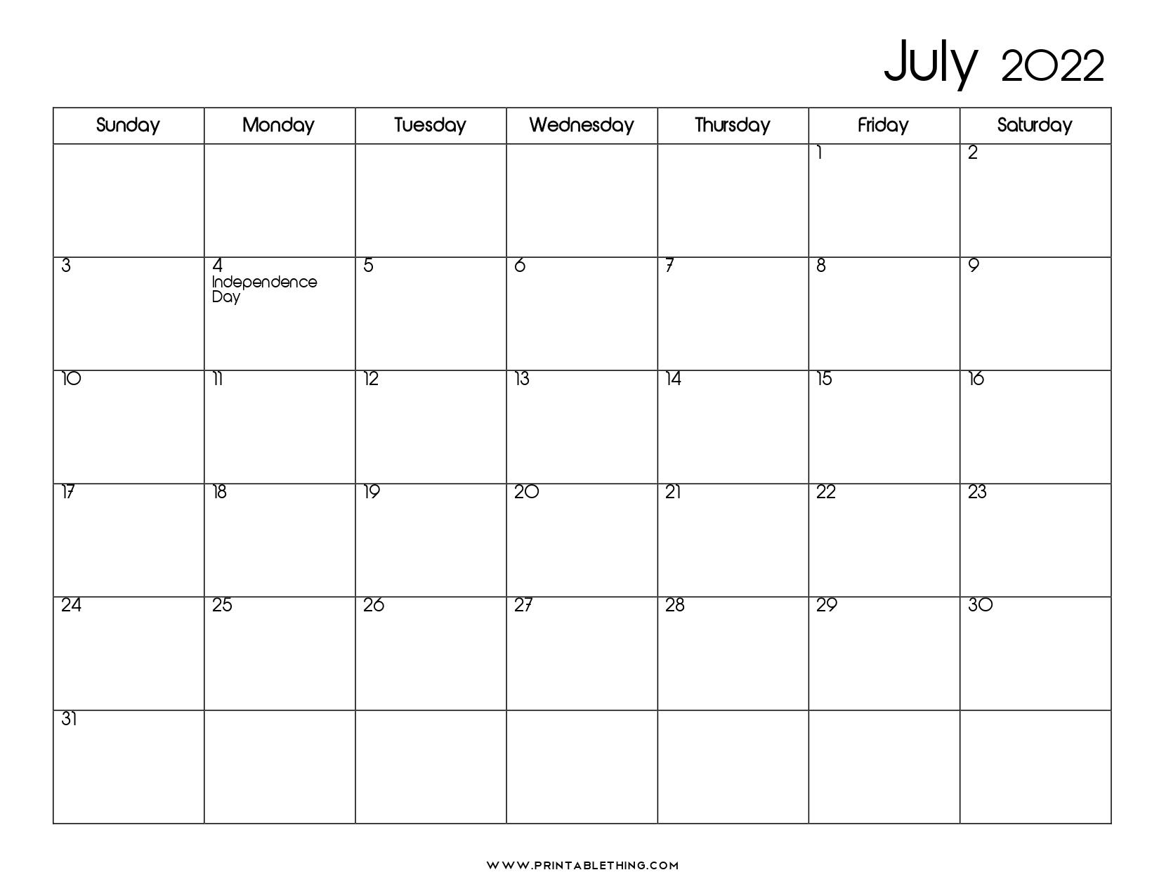 20+ July 2022 Calendar   Printable, PDF, US Holidays ...
