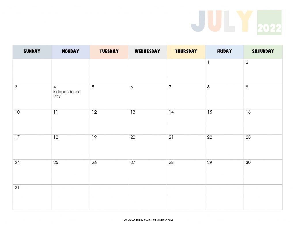 20+ July 2022 Calendar | Printable, PDF, US Holidays ...