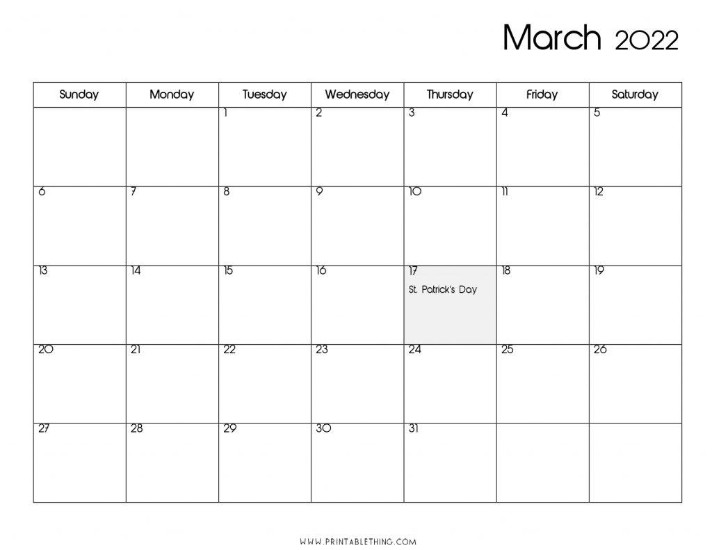 20+ March 2022 Calendar   Printable, PDF, US Holidays ...