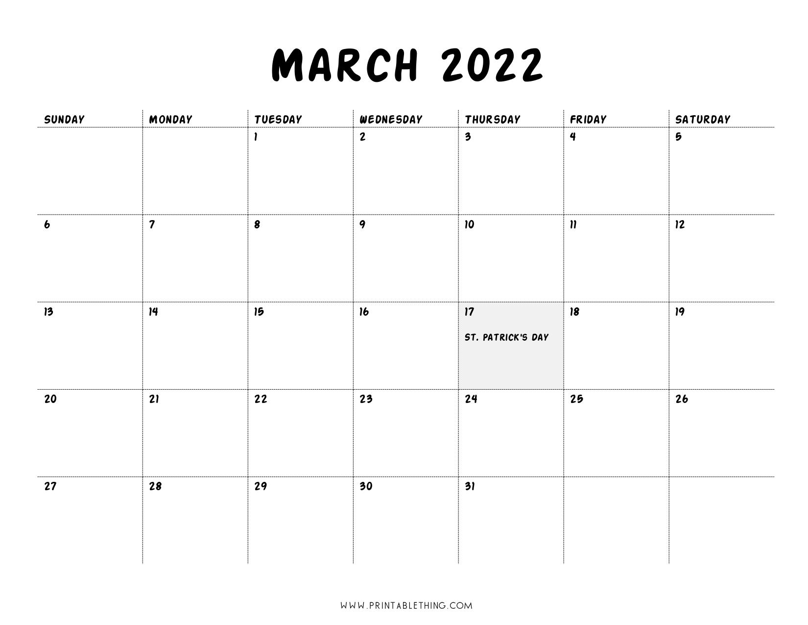 20+ March 2022 Calendar | Printable, PDF, US Holidays ...