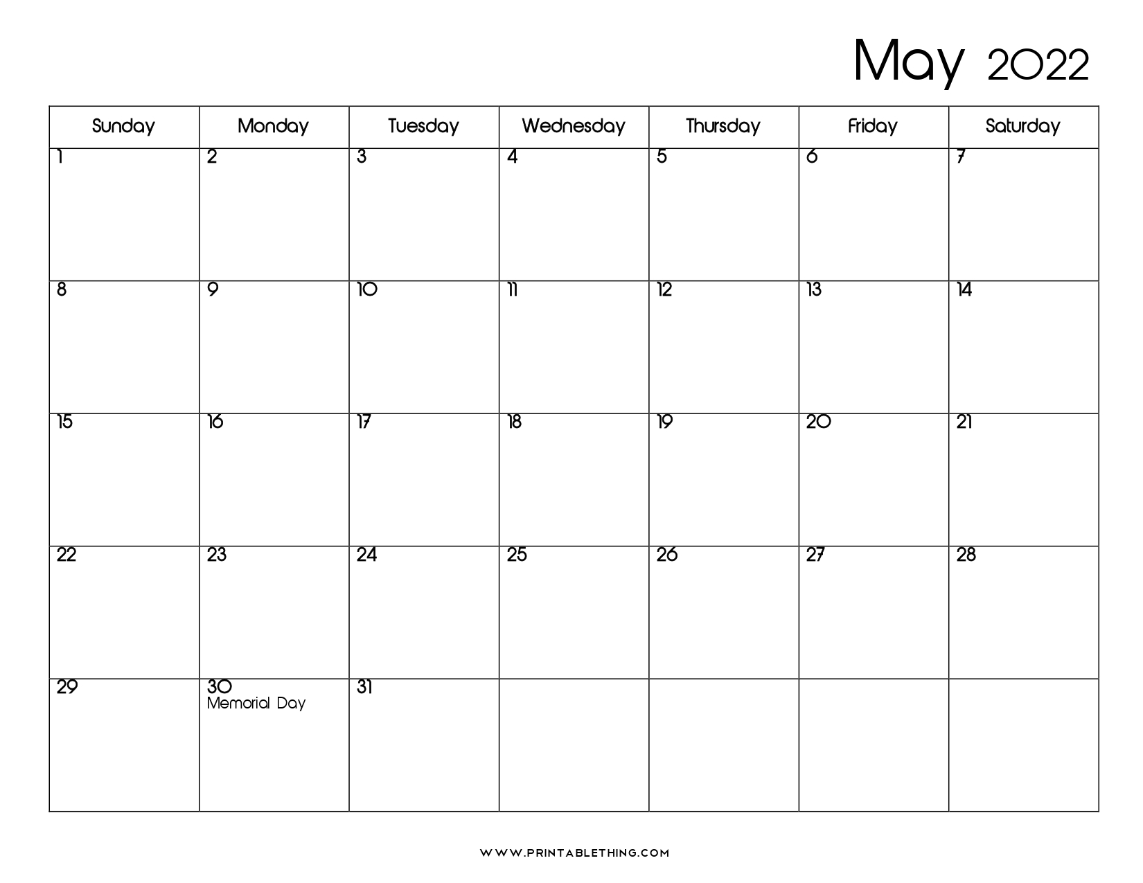 May 2022 Calendar   Printable, PDF, US Holidays, 2022 ...