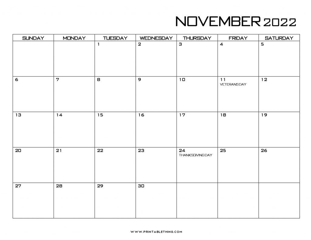 20+ November 2022 Calendar Printable, US Holidays, Blank ...