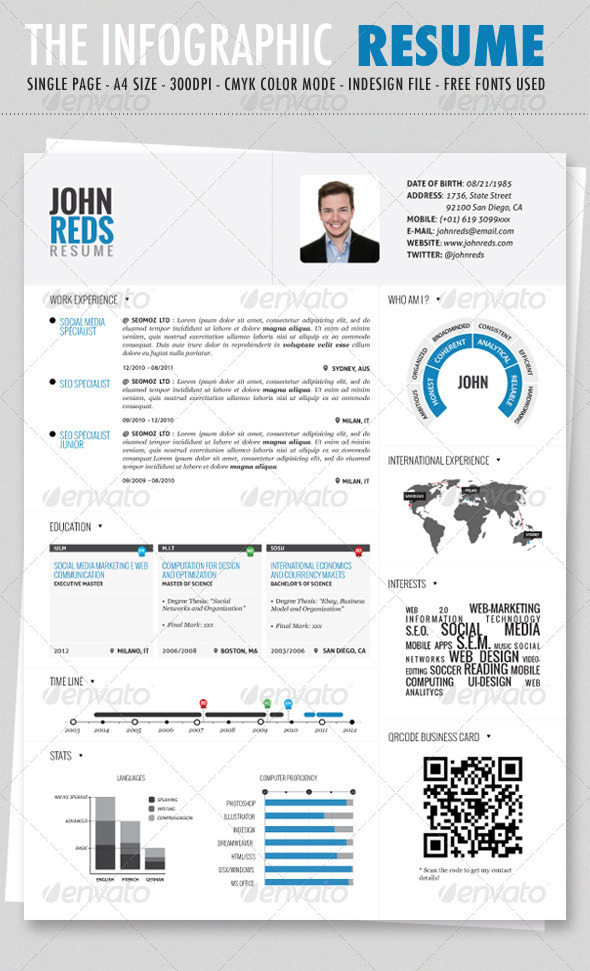 Clean Infographic Resume  Print Ad Templates