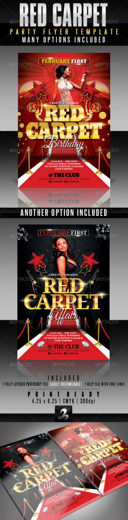 Red Carpet Party Flyer Template  Print Ad Templates
