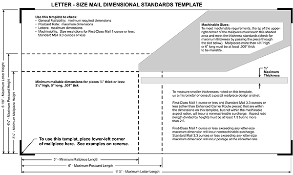 Postal Size Requirements Print Copy