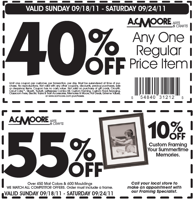 AC Moore Printable Coupon 40% OFF Anything and 55% OFF