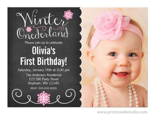 Whimsical Winter Onederland Chalkboard Birthday Invitation