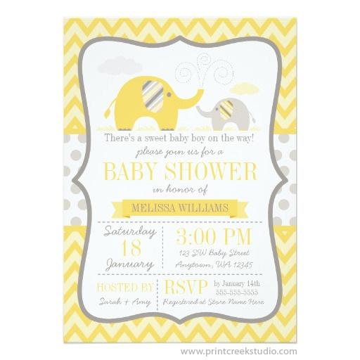 Gray Elephant Baby Shower Invitation
