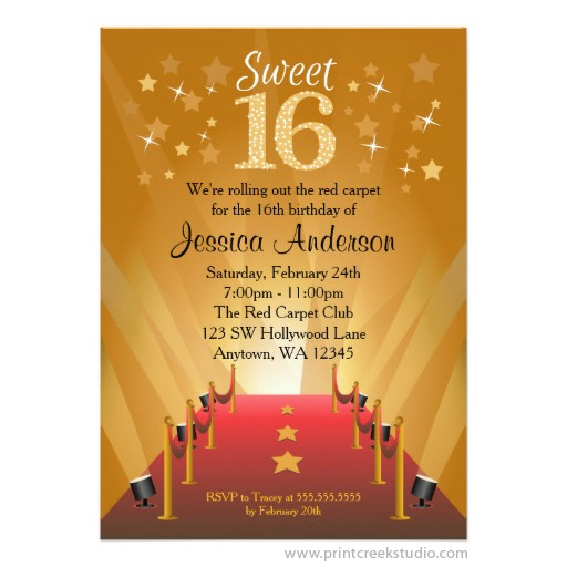 Red Carpet Hollywood Star Sweet 16 Invitations