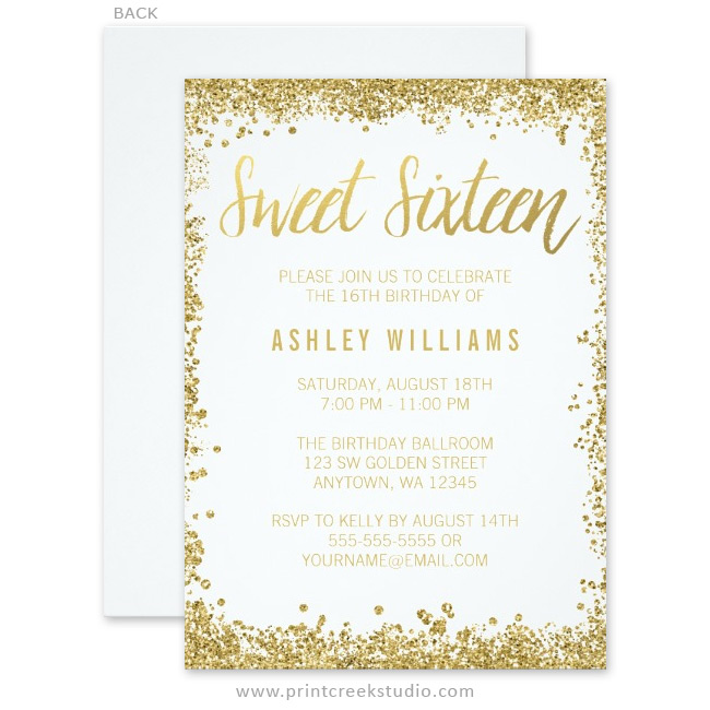 White And Gold Faux Glitter Sweet 16 Invitations Print