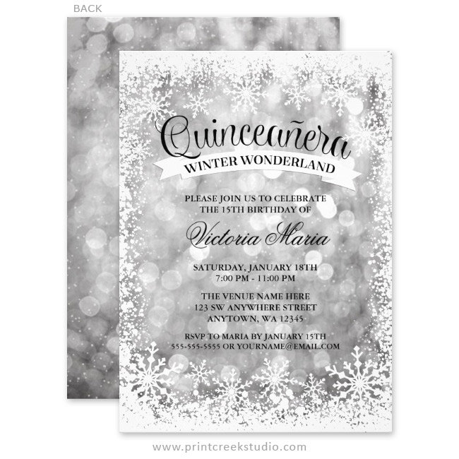 Quinceanera Winter Wonderland Silver Sparkle Invitations