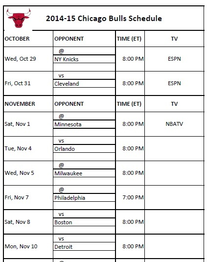 photo relating to Bulls Schedule Printable called Chicago Bulls - PrinterFriendly