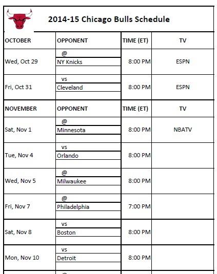 photo relating to Bulls Schedule Printable called Chicago Bulls - PrinterFriendly