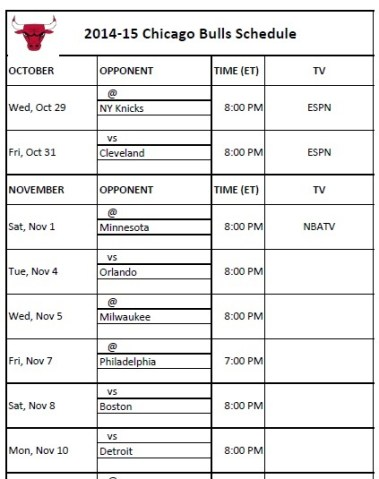 2014-15 Chicago Bulls Schedule