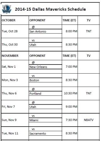 2014-15 Dallas Mavericks Schedule
