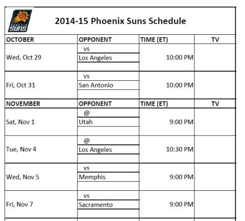 2014-15 Phoenix Suns Schedule