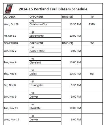 2014-15 Portland Trail Blazers Schedule