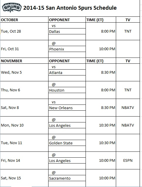 graphic relating to San Antonio Spurs Schedule Printable named San Antonio Spurs - PrinterFriendly