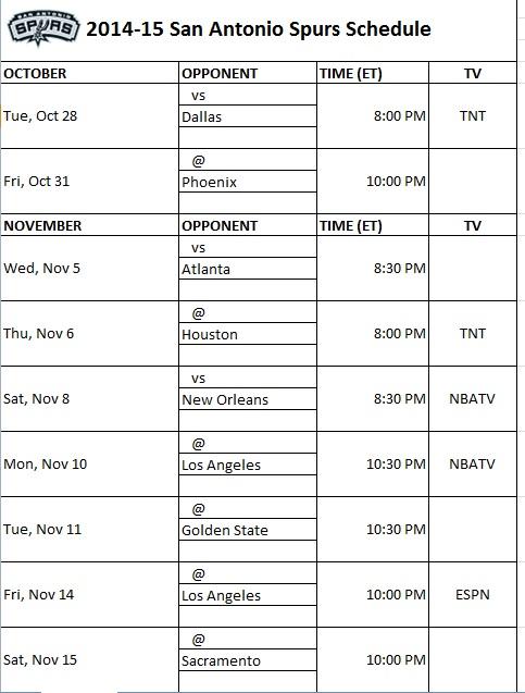 graphic relating to San Antonio Spurs Schedule Printable named San Antonio Spurs - PrinterFriendly
