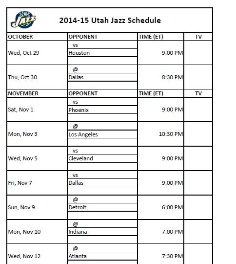 photograph regarding Utah Jazz Schedule Printable identified as Utah Jazz - PrinterFriendly