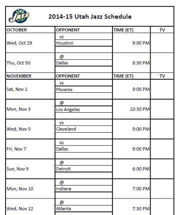 2014-15 Utah Jazz Schedule