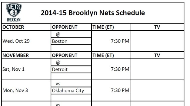 Brooklyn Nets Schedule
