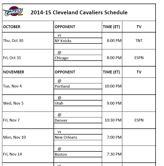 photograph relating to Cavs Printable Schedule known as Cleveland Cavaliers - PrinterFriendly