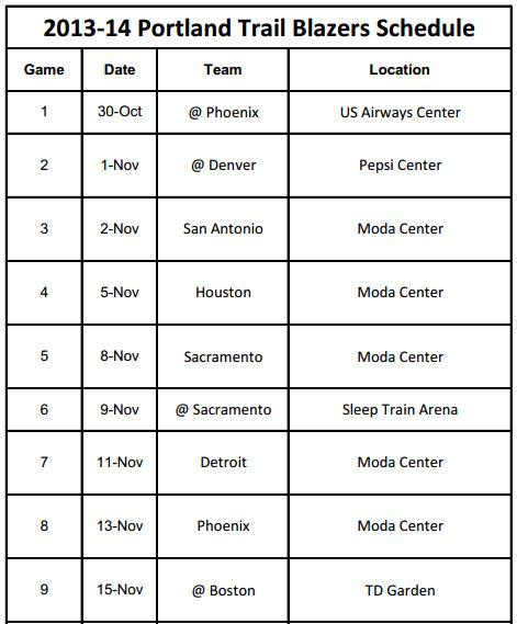 photo relating to Utah Jazz Schedule Printable titled 2013-14 Portland Trailblazers Plan - PrinterFriendly
