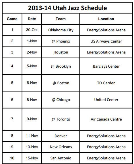 graphic about Utah Jazz Schedule Printable identified as 2013-14 Utah Jazz Agenda - PrinterFriendly