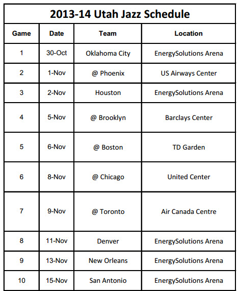 Printable  Utah Jazz 2013-14 Schedule