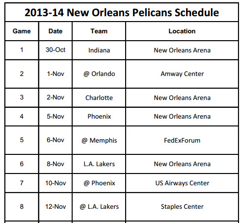 Print New Orleans Pelicans 2013-14 Schedule
