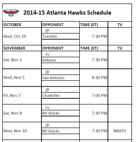 Atlanta Hawks Schedule