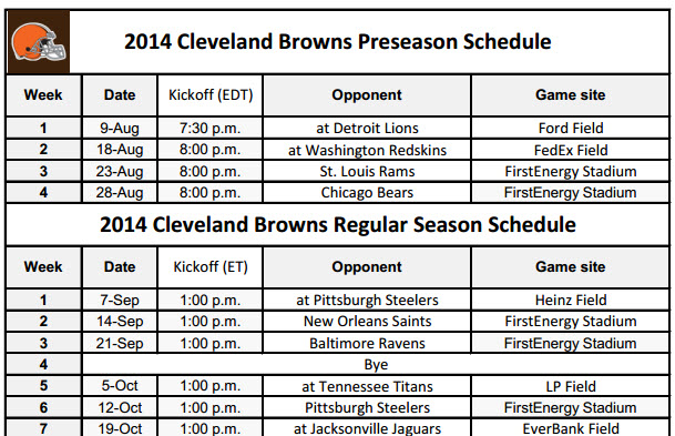 image about Cleveland Browns Printable Schedule named Cleveland Browns - PrinterFriendly